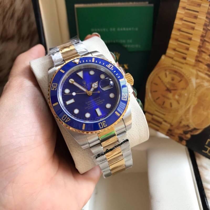Rolex Submariner Two Tone Yellow Gold Blue Dial, ก๊อปเกรดa, ทูโทน, หน้าปัดน้ำเงิน