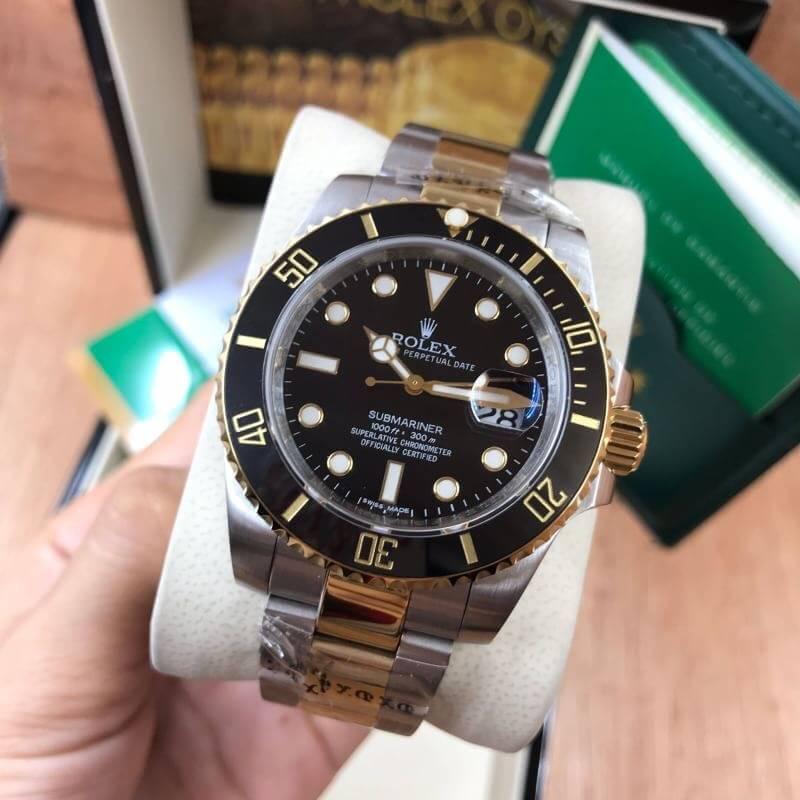 Rolex Submariner Two Tone Yellow Gold Black Dial, ก๊อปเกรดa, ทูโทน, หน้าปัดดำ