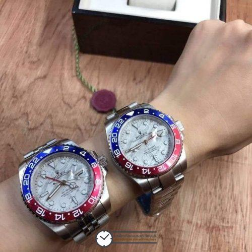 Rolex GMT-Master II White Dial Blue and Red, Pepsi Bezel, ก๊อปเกรดA