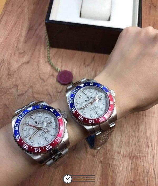 Rolex GMT-Master II White Dial Blue and Red, Pepsi Bezel, ก๊อปเกรดA