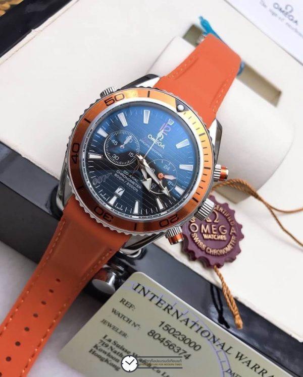 Omega seamaster 007 600m Orange Rubber Strap, สายยางสีส้ม