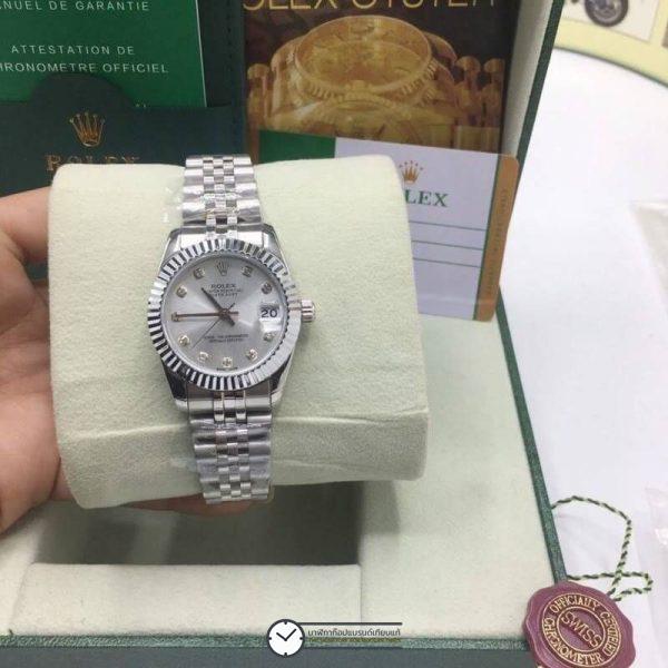 Rolex datejust 31mm Gray Dial Jubilee, โรเล็กซ์เดทจัสท์ก๊อปผู้หญิง ขอบเพชร หน้าปัดเงินเทา สายจูบิลี่