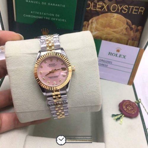 Rolex datejust Two-Tone Yellow-Gold 31mm Pink Dial, โรเล็กซ์เดทจัสท์ก๊อปผู้หญิง สองกษัตริย์ ทูโทน 18k หน้าปัดชมพู สายจูบิลี่