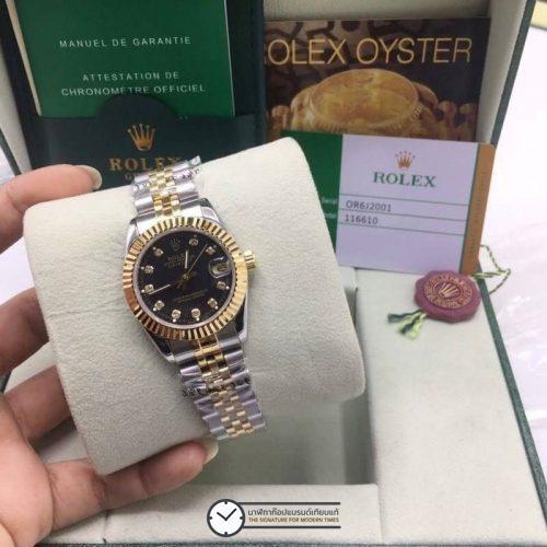 Rolex datejust Two-Tone Yellow-Gold 31mm Black Dial, โรเล็กซ์เดทจัสท์ก๊อปผู้หญิง สองกษัตริย์ ทูโทน 18k หน้าปัดดำ สายจูบิลี่