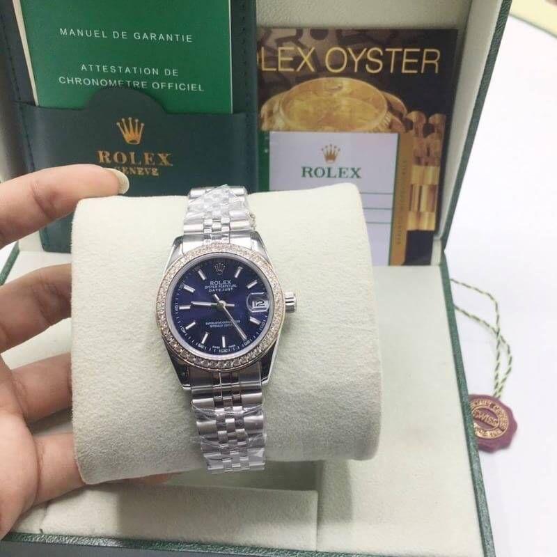 Rolex datejust 31 mm Diamond Blue Dial Jubilee, โรเล็กซ์เดทจัสท์ก๊อปผู้หญิง ขอบเพชร หน้าปัดน้ำเงิน สายจูบิลี่
