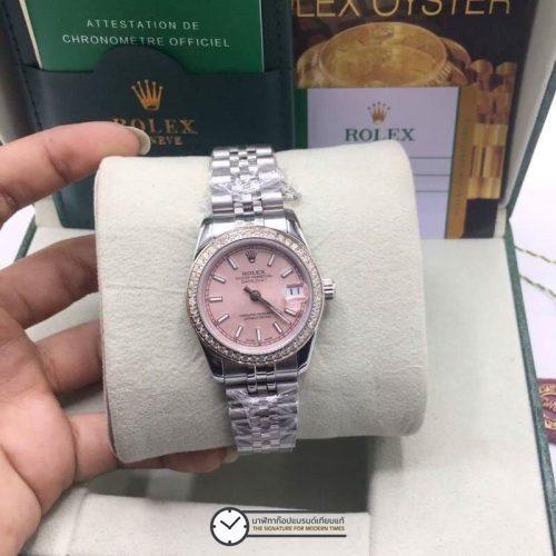 Rolex datejust 31 mm Pink Dial Diamond, โรเล็กซ์เดทจัสท์ก๊อปผู้หญิง ขอบเพชร หน้าปัดชมพู