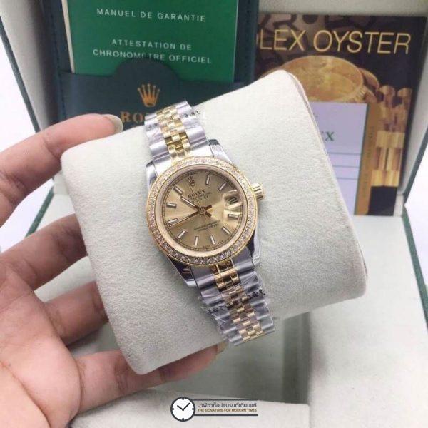 Rolex datejust Two-Tone 31mm Diamond Gold Dial Jubilee, โรเล็กซ์เดทจัสท์ก๊อปผู้หญิง ขอบเพชร สองกษัตริย์ ทูโทน 18k หน้าปัดทอง สายจูบิลี่
