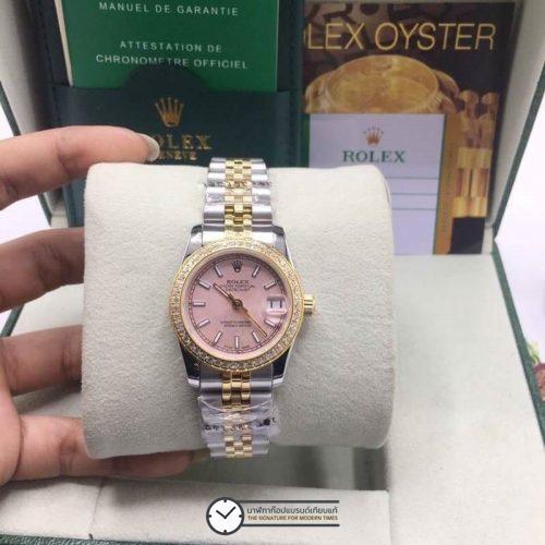 Rolex datejust Two-Tone 31mm Diamond Pink Dial Jubilee, โรเล็กซ์เดทจัสท์ก๊อปผู้หญิง ขอบเพชร สองกษัตริย์ ทูโทน 18k หน้าปัดชมพู สายจูบิลี่