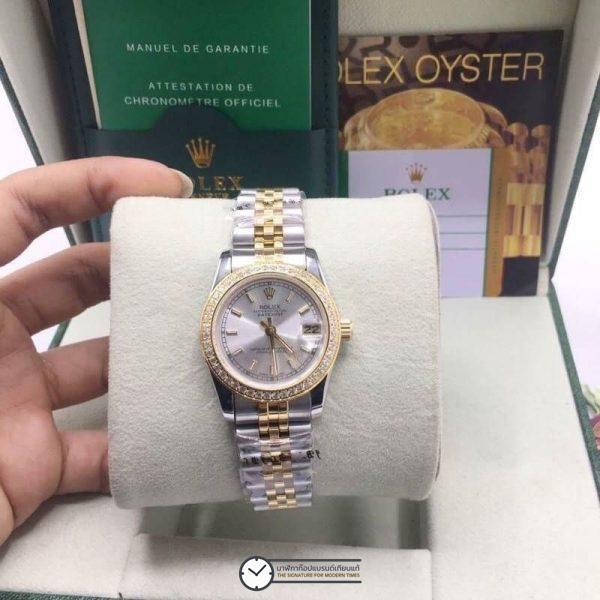 Rolex datejust Two-Tone 31mm Diamond Gray Dial Jubilee, โรเล็กซ์เดทจัสท์ก๊อปผู้หญิง ขอบเพชร สองกษัตริย์ ทูโทน 18k หน้าปัดเทา สายจูบิลี่