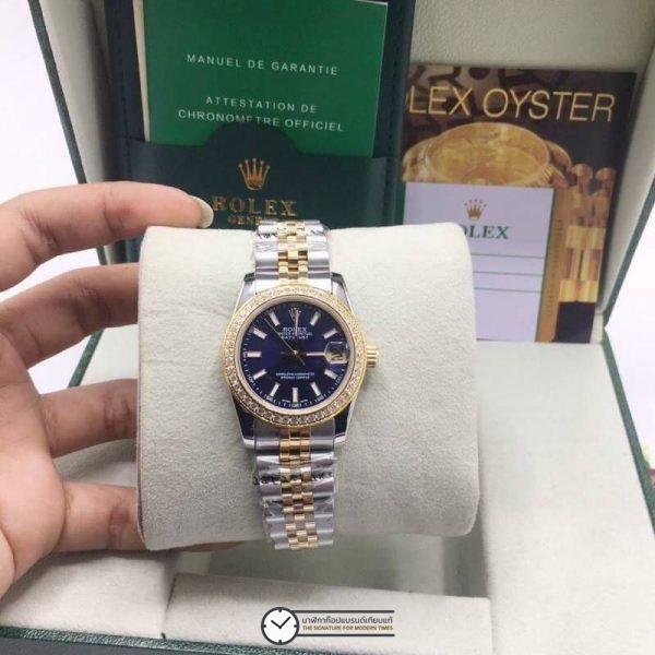 Rolex datejust Two-Tone 31mm Diamond Blue Dial Jubilee, โรเล็กซ์เดทจัสท์ก๊อปผู้หญิง ขอบเพชร สองกษัตริย์ ทูโทน 18k หน้าปัดน้ำเงิน สายจูบิลี่