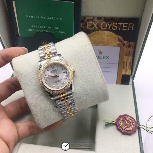 Rolex datejust Two-Tone 31mm Diamond White Dial Jubilee, โรเล็กซ์เดทจัสท์ก๊อปผู้หญิง ขอบเพชร สองกษัตริย์ ทูโทน 18k หน้าปัดขาว สายจูบิลี่