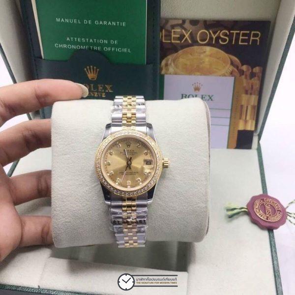 Rolex datejust Two-Tone 31mm Diamond Gold Dial, โรเล็กซ์เดทจัสท์ก๊อปผู้หญิง ขอบเพชร สองกษัตริย์ ทูโทน 18k หน้าปัดทอง สายจูบิลี่