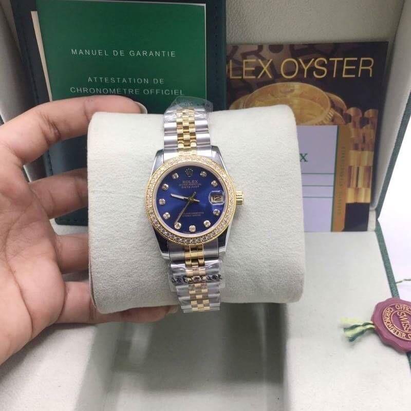 Rolex datejust Two-Tone 31mm Diamond Blue Dial,โรเล็กซ์เดทจัสท์ก๊อปผู้หญิง สองกษัตริย์ ทูโทน 18k หน้าปัดน้ำเงิน สายจูบิลี่