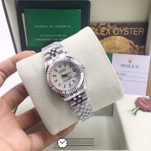 Rolex datejust 31mm White Dial Jubilee, โรเล็กซ์เดทจัสท์ก๊อปผู้หญิง หน้าปัดขาว สายจูบิลี่