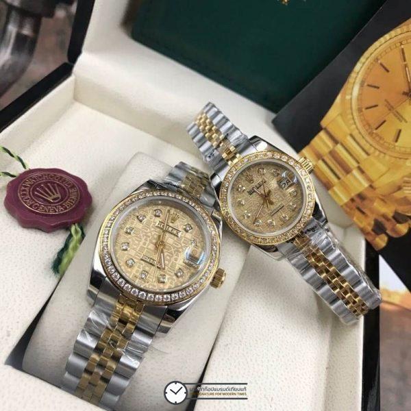 Rolex datejust Two-Tone 28-31mm Diamond Gold Dial Jubilee, โรเล็กซ์เดทจัสท์ทูโทน สองกษัตริย์ 18k ก๊อปผู้หญิง ขอบเพชร หน้าคอม ปัดทอง สายจูบิลี่