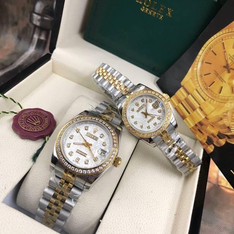 Rolex datejust Two-Tone 28-31mm Diamond White Dial, โรเล็กซ์เดทจัสท์ทูโทน สองกษัตริย์ 18k ก๊อปผู้หญิง ขอบเพชร หน้าคอม ปัดขาว สายจูบิลี่