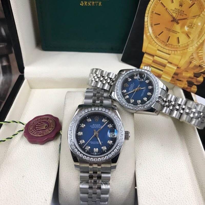 Rolex datejust 28,31mm Blue Dial Jubilee, โรเล็กซ์เดทจัสท์ก๊อปผู้หญิง ขอบเพชร น้าปัดน้ำเงิน สายจูบิลี่