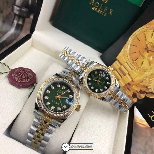 Rolex datejust Two-Tone 28-31mm Diamond Green Dial Jubilee, โรเล็กซ์เดทจัสท์ทูโทน สองกษัตริย์ 18k ก๊อปผู้หญิง ขอบเพชร หน้าปัดเขียว สายจูบิลี่