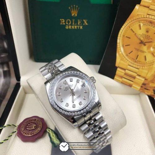 Rolex datejust 28-31mm Gray Dial Jubilee, โรเล็กซ์เดทจัสท์ก๊อปผู้หญิง ขอบเพชร หน้าปัดเทา สายจูบิลี่