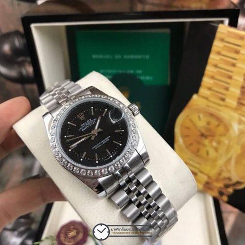 Rolex datejust 28-31mm Black Dial Jubilee, โรเล็กซ์เดทจัสท์ก๊อปผู้หญิง ขอบเพชร หน้าปัดดำ สายจูบิลี่