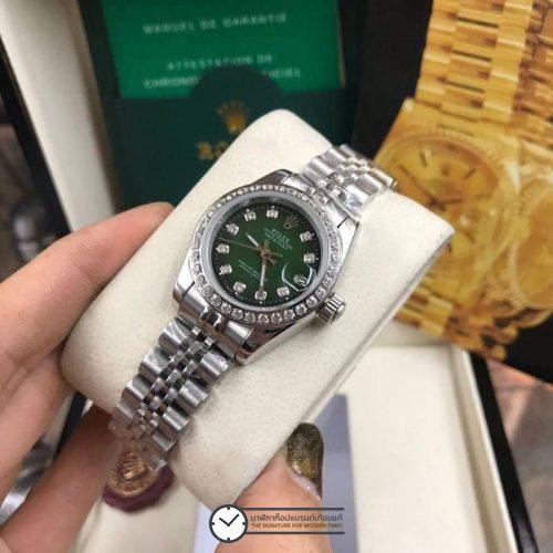 Rolex datejust 28,31mm Diamond Green Dial Jubilee, โรเล็กซ์เดทจัสท์ก๊อปผู้หญิง ขอบเพชร น้าปัดเขียว สายจูบิลี่