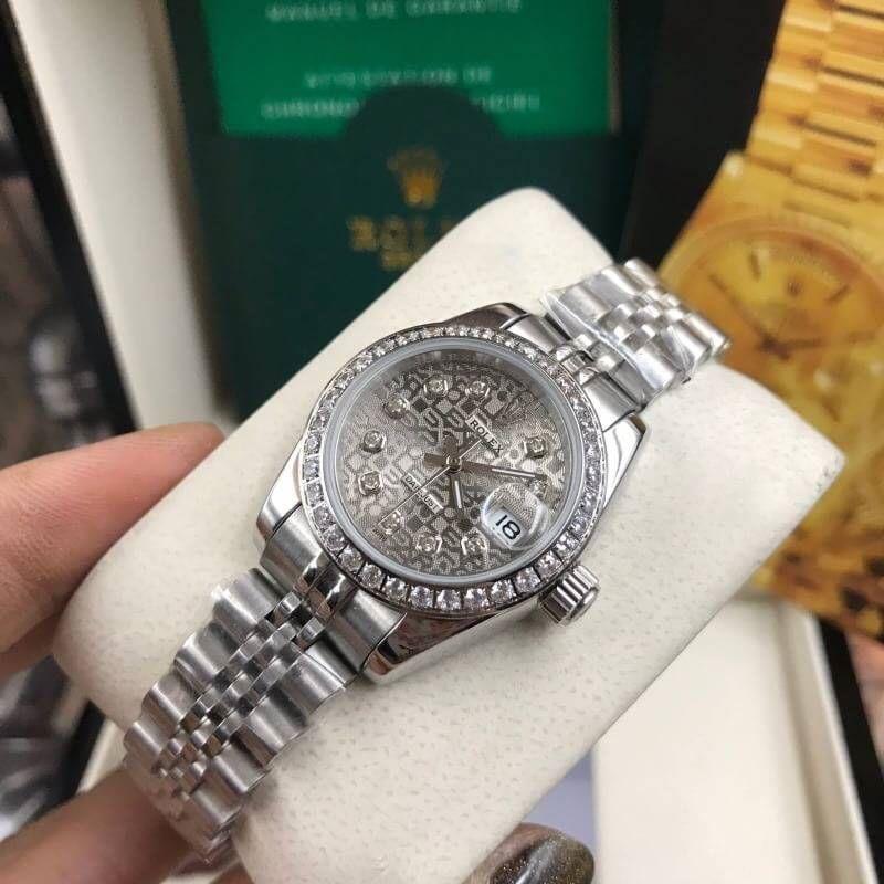 Rolex datejust 28-31mm Gray Dial Jubilee, โรเล็กซ์เดทจัสท์ก๊อปผู้หญิง ขอบเพชร หน้าคอม ปัดเทา สายจูบิลี่