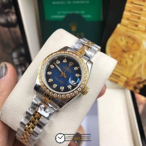 Rolex datejust Two-Tone 28-31mm Diamond Blue Dial Jubilee, โรเล็กซ์เดทจัสท์ทูโทน สองกษัตริย์ 18k ก๊อปผู้หญิง ขอบเพชร หน้าปัดน้ำเงิน สายจูบิลี่
