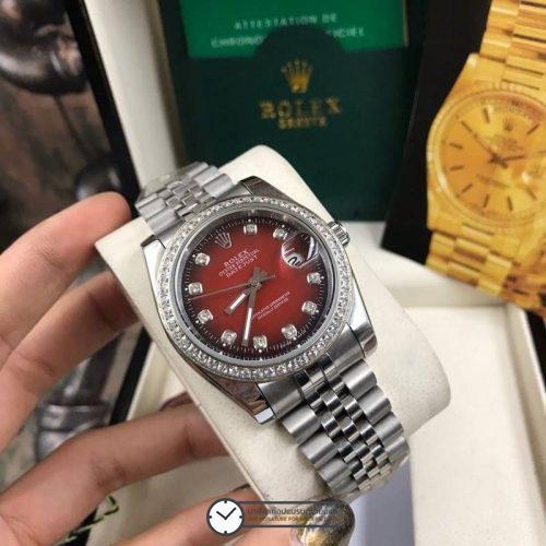 Rolex datejust 36 mm Diamond Red Dial Jubilee ( Boy Size ), โรเล็กซ์เดทจัสท์ ก๊อปบอยไซส์ ขอบเพชร หน้าปัดแดง สายจูบิลี่