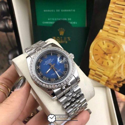 Rolex datejust 36 mm Diamond Blue Dial Jubilee ( Boy Size ), โรเล็กซ์เดทจัสท์ ก๊อปบอยไซส์ ขอบเพชร หน้าปัดน้ำเงิน สายจูบิลี่