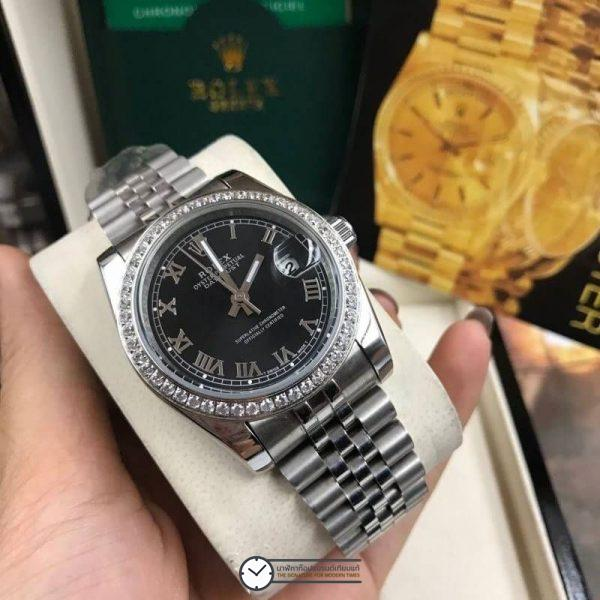 Rolex datejust 36 mm Roman Diamond Black Dial Jubilee ( Boy Size ), โรเล็กซ์เดทจัสท์ โรมัน ก๊อปบอยไซส์ ขอบเพชร หน้าปัดดำ สายจูบิลี่