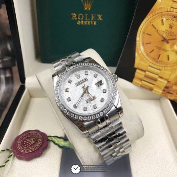 Rolex datejust 36 mm Diamond White Dial Jubilee ( Boy Size ), โรเล็กซ์เดทจัสท์ ก๊อปบอยไซส์ ขอบเพชร หน้าคอม ปัดขาว สายจูบิลี่