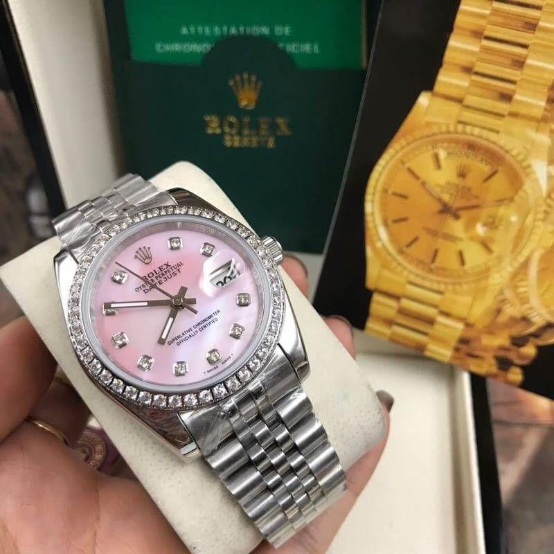 Rolex datejust 36 mm Diamond Pink Dial Jubilee ( Boy Size ), โรเล็กซ์เดทจัสท์ ก๊อปบอยไซส์ ขอบเพชร หน้าคอม ปัดขาว สายจูบิลี่
