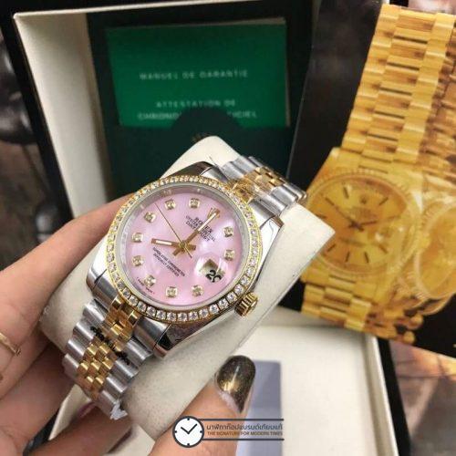 Rolex datejust Two-Tone 36 mm Diamond Pink Dial Jubilee, โรเล็กซ์เดทจัสท์ ทูโทน สองกษัตริย์ ก๊อปบอยไซส์ ขอบเพชร หน้าปัดชมพู สายจูบิลี่