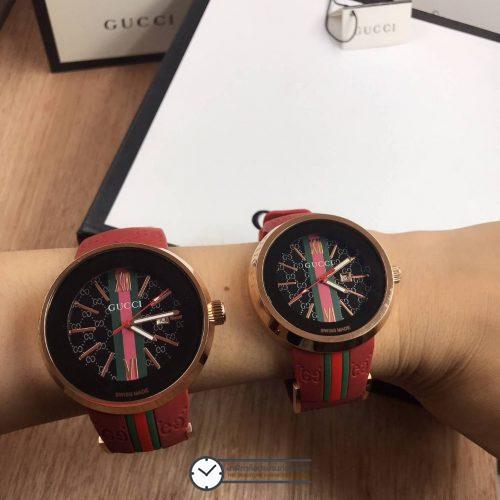 Gucci Watch Rose Gold สายซิลิโคนสีแดง
