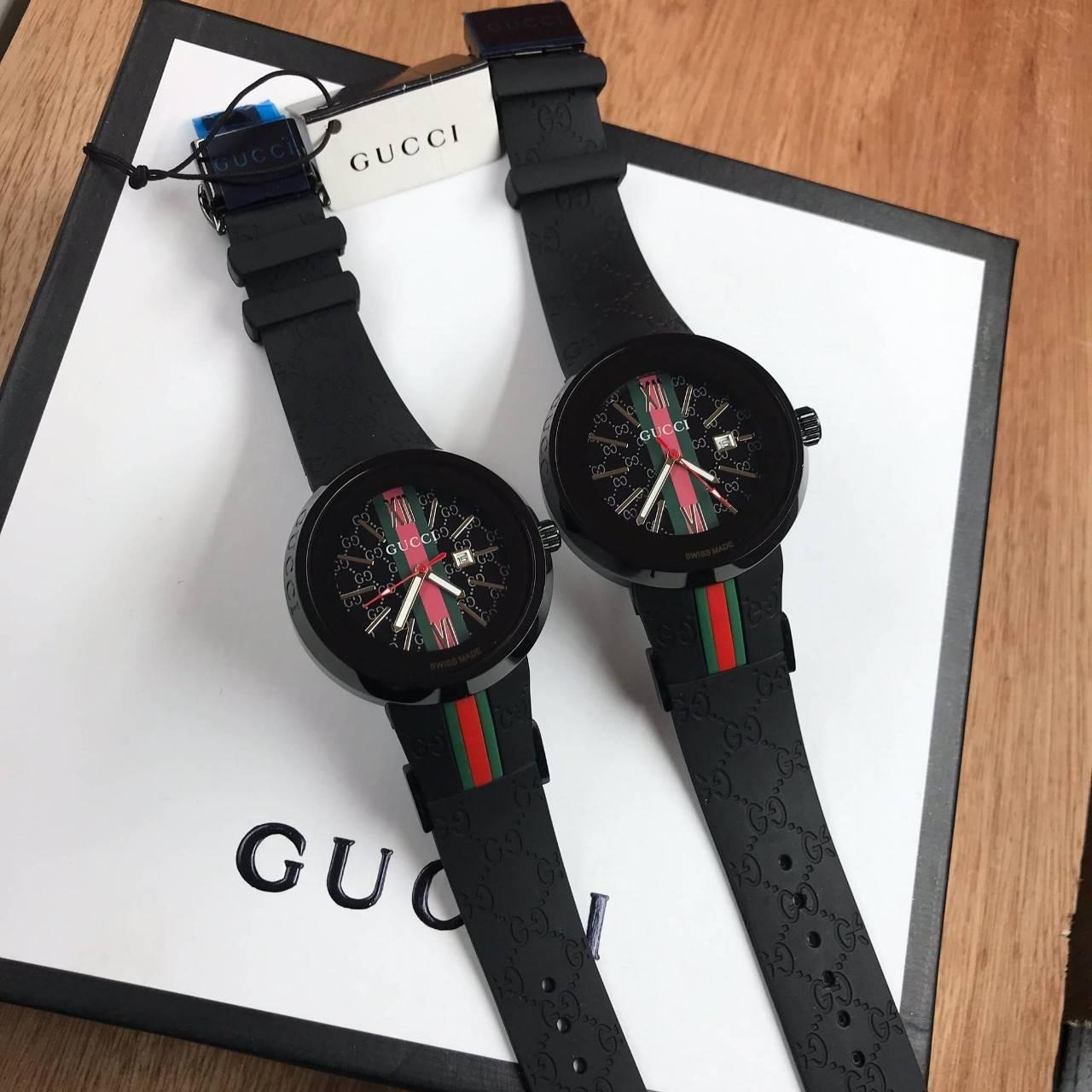 Gucci Watch Black Dial สายยางซิลิโคนก๊อป หน้าปัดดำ