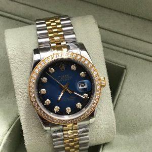 Rolex datejust Two-Tone 36 mm Diamond Blue Dial Jubilee