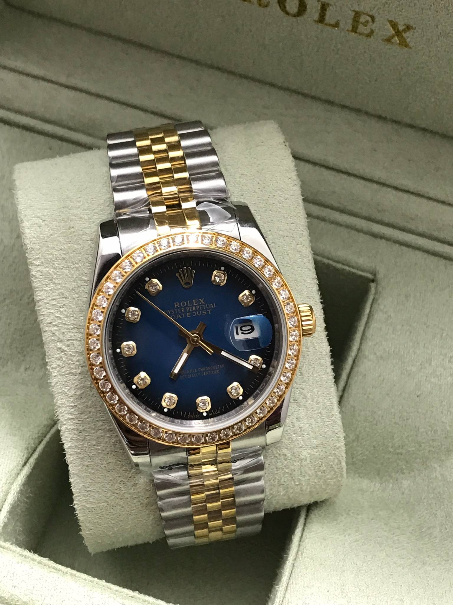 Rolex datejust Two-Tone 36 mm Diamond Blue Dial Jubilee, โรเล็กซ์เดทจัสท์ สองกษัตริย์ก๊อป ทูโทน ขอบเพชร บอยไซส์ หน้าปัดน้ำเงิน สายจูบิลี่