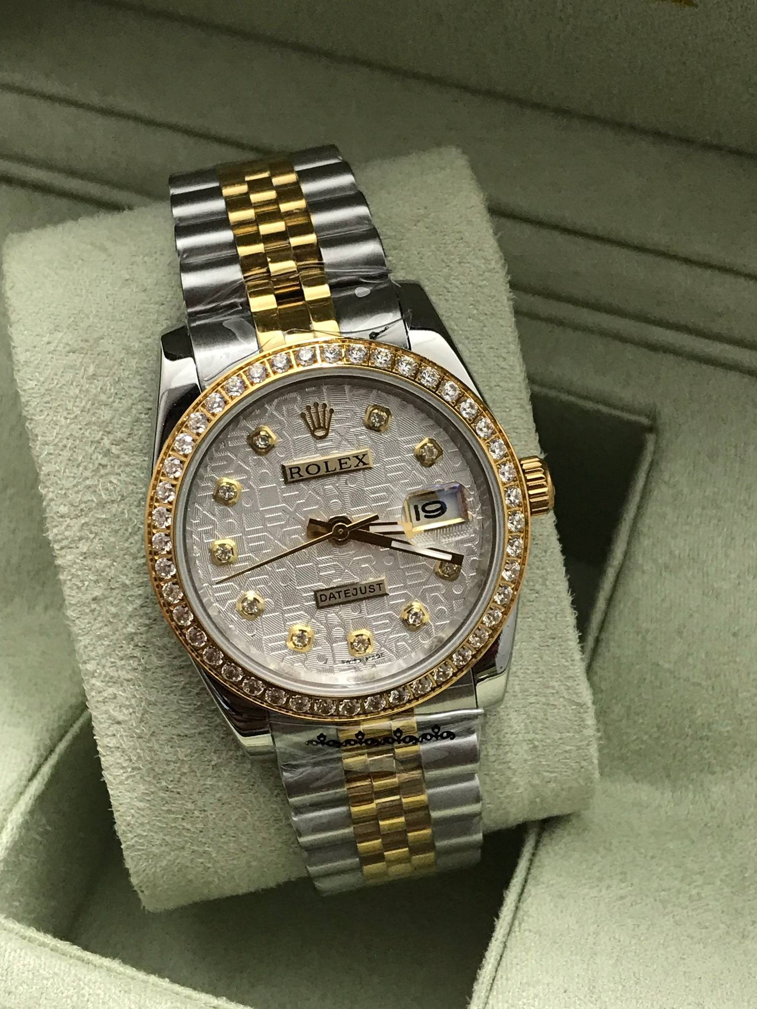Rolex datejust Two-Tone 36 mm Diamond White Dial