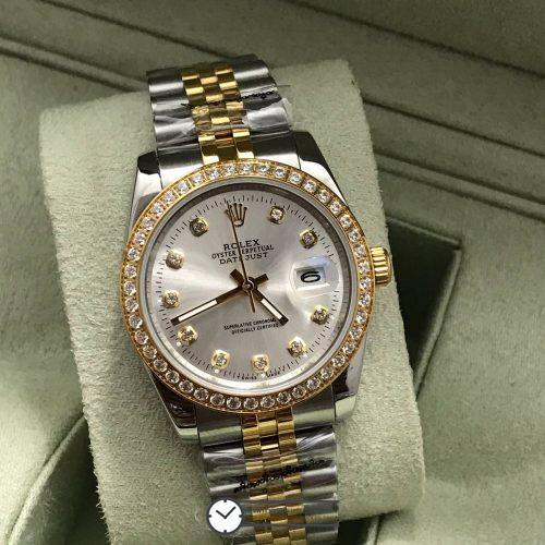 Rolex datejust Two-Tone 36 mm Diamond White Dial, โรเล็กซ์เดทจัสท์ สองกษัตริย์ก๊อป ทูโทน ขอบเพชร บอยไซส์ หน้าปัดขาว