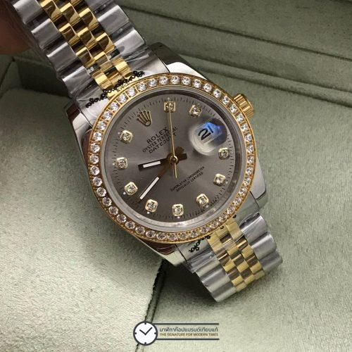 Rolex datejust Two-Tone 36 mm Diamond Gray Dial, โรเล็กซ์เดทจัสท์สองกษัตริย์ก๊อป ทูโทน ขอบเพชร บอยไซส์ หน้าปปัดเทา