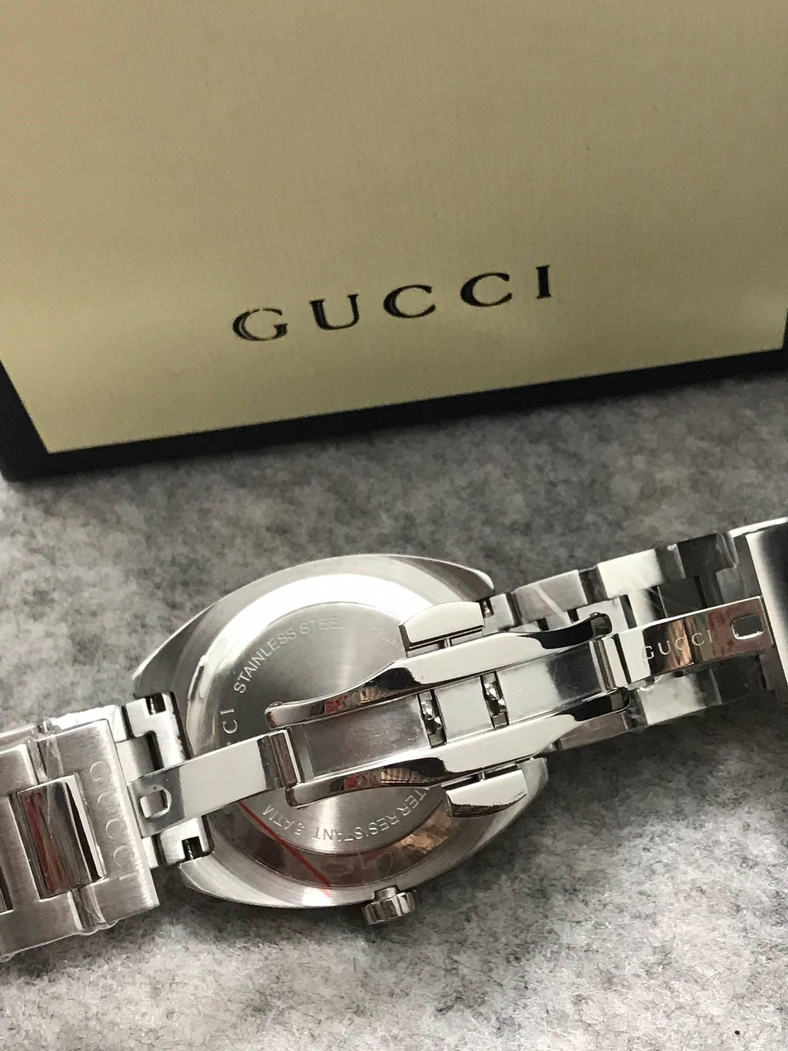 Gucci 100meter men's Watch White Dial GG2570 ก๊อปสายเลส หน้าปัดขาว