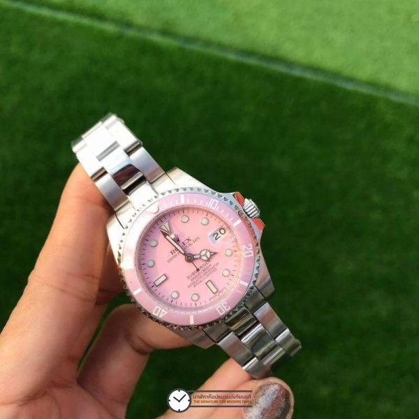 Rolex Submariner Pink Dial 35mm Lady Watch, โรเล็กซ์ซับมารีนเนอร์ก๊อปผู้หญิง หน้าปัดชมพู
