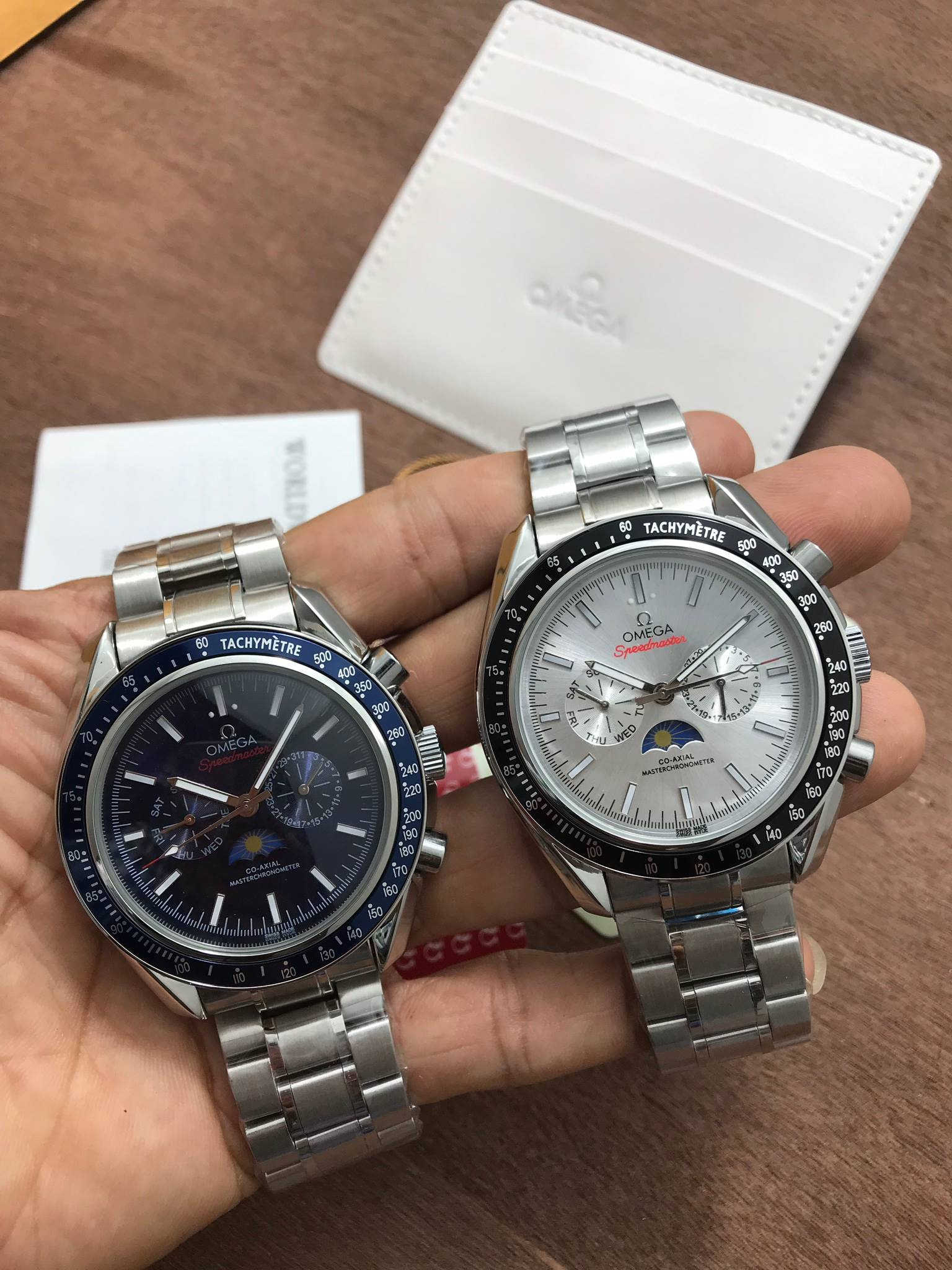 Omega Speedmaster Co-Axial Master Chronometer Chronograph Moonphase Blue,White Dial,