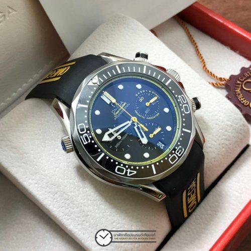 Omega Seamaster Diver 300m Chronograph ETNZ Limited Edition Rubber strap Black Dial, ก๊อปสายยาง หน้าปัดดำ