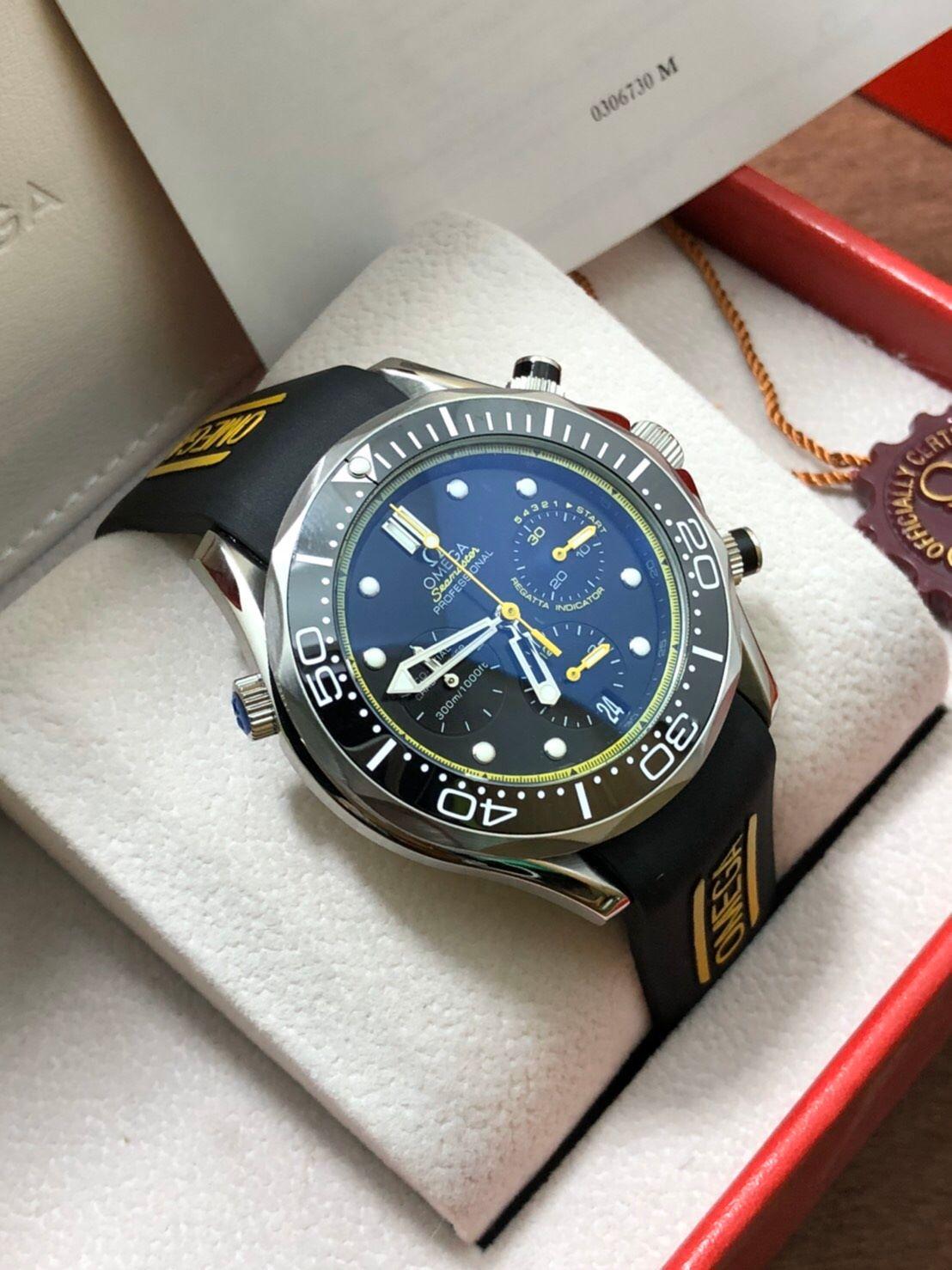Omega Seamaster Diver 300m Chronograph ETNZ Limited Edition Rubber strap Black Dial