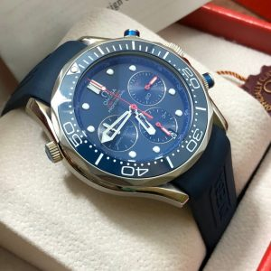 Omega Seamaster Diver 300m Chronograph ETNZ Limited Edition Rubber strap Blue Dial, ก๊อปสายยาง