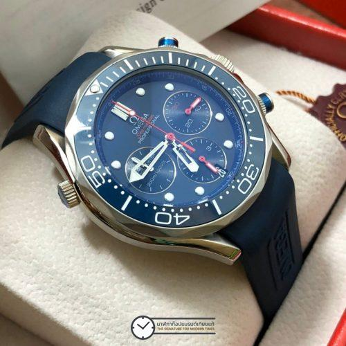 Omega Seamaster Diver 300m Chronograph ETNZ Limited Edition Rubber strap Blue Dial, ก๊อปสายยาง