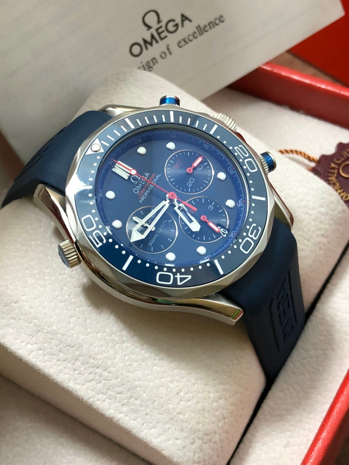 Omega Seamaster Diver 300m Chronograph ETNZ Limited Edition Rubber strap Blue Dial