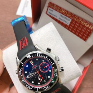 Omega Seamaster Diver 300m Chronograph ETNZ Limited Edition Rubber strap Black Dial, ก๊อปสายยาง