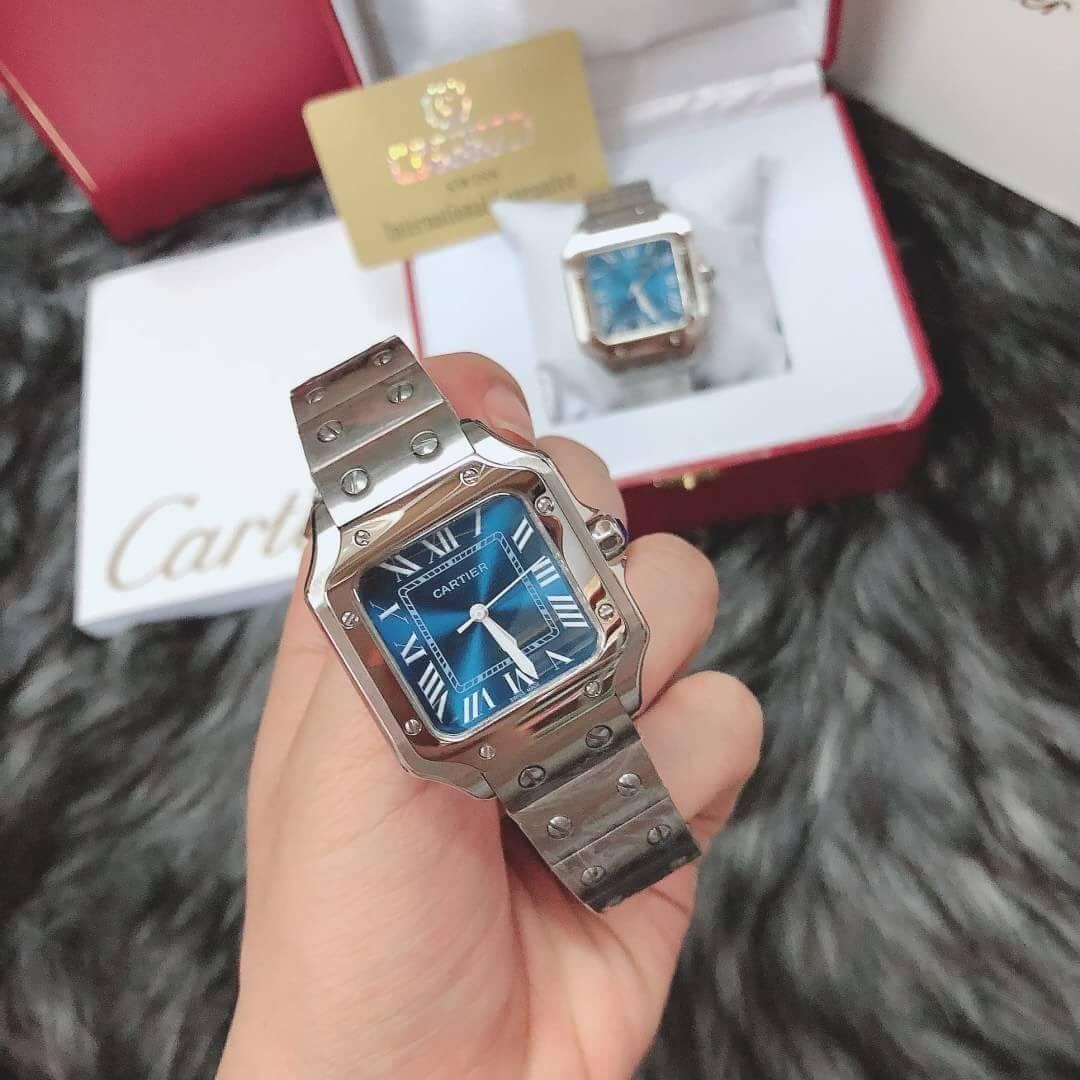 Cartier Santos Blue Dial 35, 40mm, หน้าปัดน้ำเงิน, ก๊อปผู้ชาย